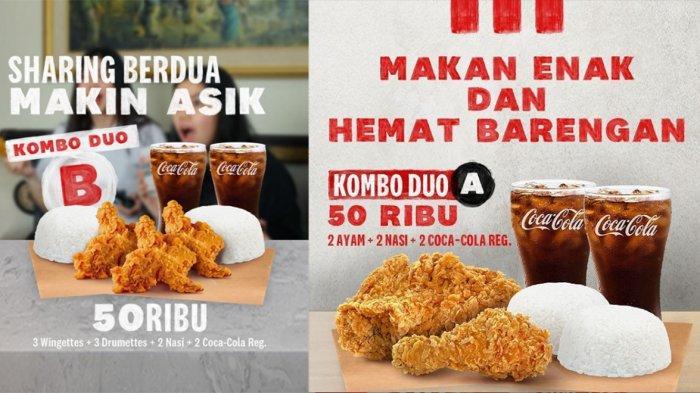Promo KFC Hari Ini 5 September 2021, 3 Wingettes, 3 Drumettes, 2 Nasi, 2 Coca-Cola Hanya Rp 50 Ribu