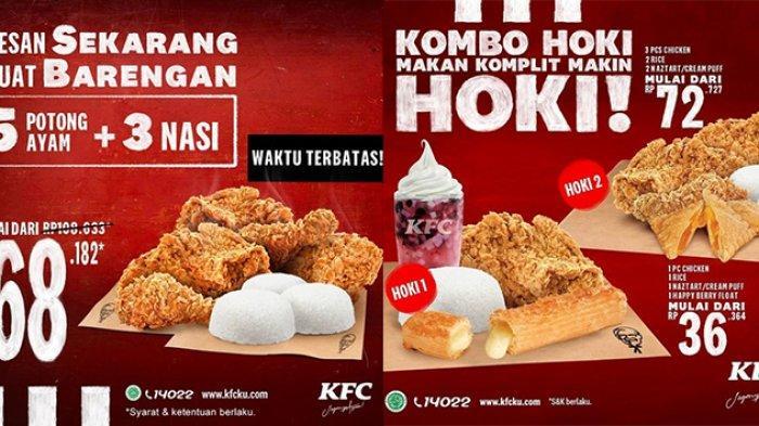 Promo KFC hari ini Rabu 3 Maret 2021, promo PSBB dapat 5 potong ayam + 3 nasi hanya Rp68.182.