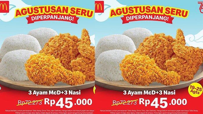 Promo McD Hari Ini Sabtu 21 Agustus 2021, Agustusan Seru, 3 Ayam Dan 3 Nasi Hanya Rp 45.000