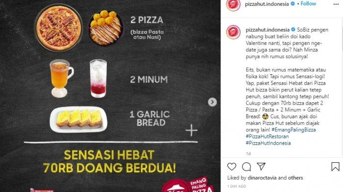 Promo Pizza Hut Hari Ini, Hanya Dengan Rp 70 Ribu Dapat 2 Pizza / Pasta, 2 Minum & Garlic Bread