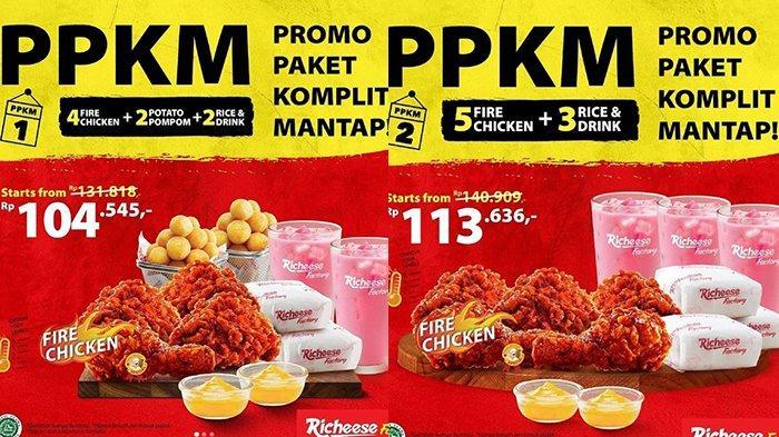BARU! Promo Richeese Factory 16 Juli 2021, Paket Komplit 4 Ayam, 2 Potato, 2 Nasi, 2 Minum Rp104.545