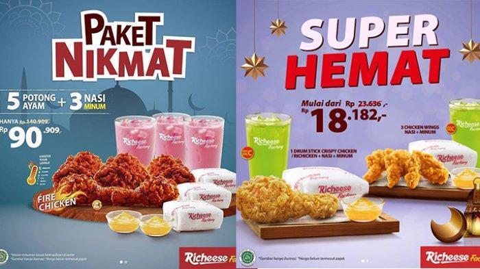 Promo Richeese Factory TERBARU 28 April 2021, 5 Potong Ayam + 3 Nasi + 3 Minum Rp90.909