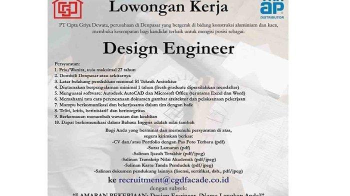 Lowongan Kerja di Denpasar, PT. Cipta Griya Dewata Membutuhkan Design Engineer, Minimal S1