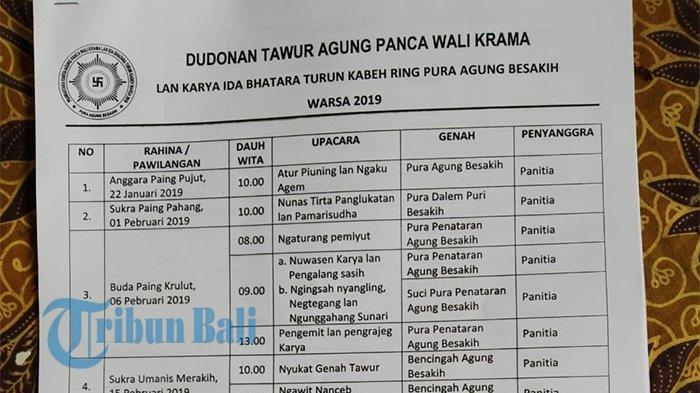 Berikut Rangkaian Upacara Panca Wali Krama di Pura Besakih, Dimulai 22 Januari Ini