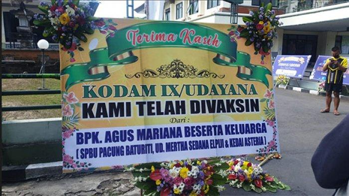 RSAD Kodam IX/Udayana Dibanjiri Karangan Bunga Ucapan Terima Kasih Atas Serbuan Vaksinasi Covid-19