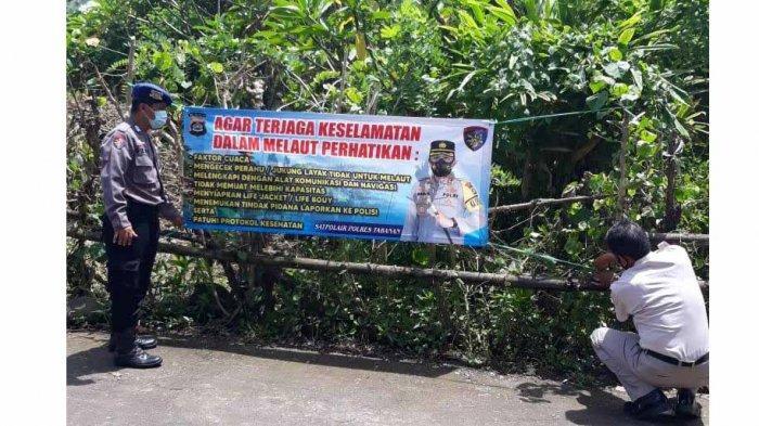 Cegah Terjadinya Musibah di Laut, Polisi Pasang Spanduk Peringatan di Sepanjang Pesisir Tabanan Bali