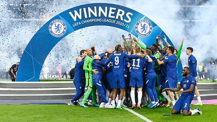 Ppara pemain Chelsea selebrasi setelah menjuarai Liga Champions 2020/2021, Minggu 30 Mei 2021.