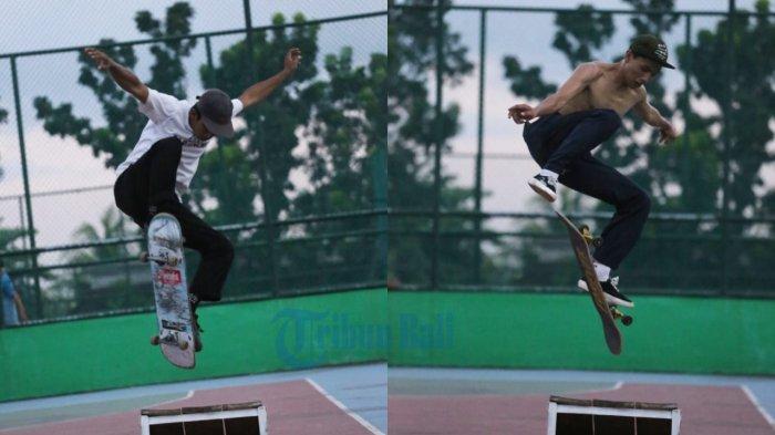 Sejumlah Pemain Skateboard Denpasar Gunakan Kawasan GOR Kebo Iwa Gianyar untuk Latihan