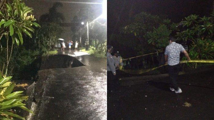 Warga Terendam Banjir dan Setengah Badan Jalan Jebol di Tabanan