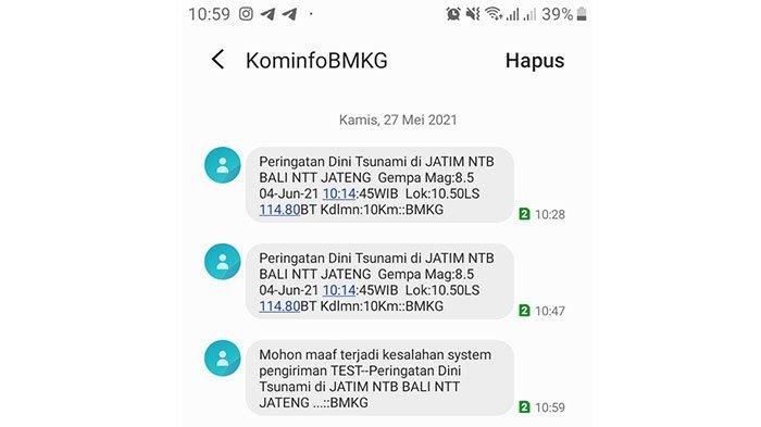 SMS Berisi Peringatan Dini Tsunami di Bali 4 Juni 2021, BMKG dan Kominfo Lakukan Investigasi