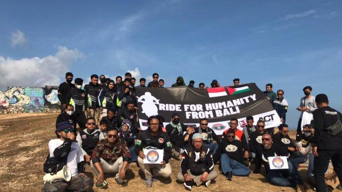 Gelar Ride For Humanity, Puluhan Biker Ikuti Aksi Peduli Palestina di Bali