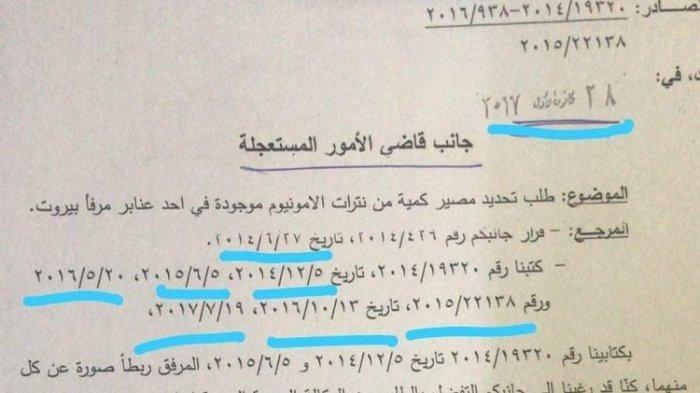Surat Pemberitahuan Bahaya 2.750 Ton Amonium Nitrat di Pelabuhan Beirut Lebanon Beredar, Ini Isinya