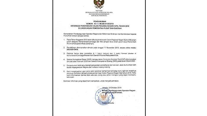 68 Kementerian/Lembaga dan 462 Pemda Buka Lowongan CPNS, Pendaftaran Dimulai 11 November 2019