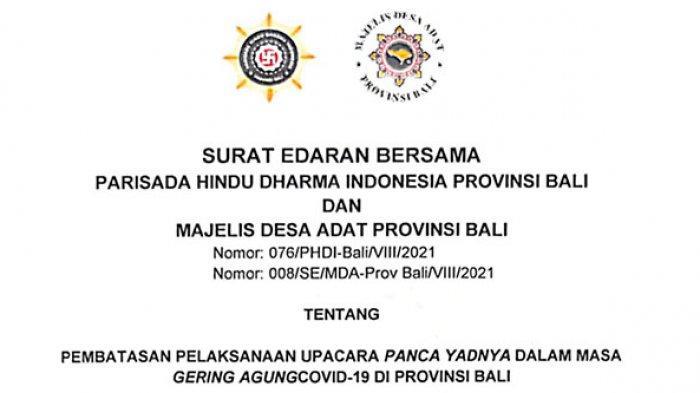 PHDI dan MDA Bali Imbau Umat Batasi Kegiatan Yadnya,Odalan Maksimal Diikuti 10 Orang & Tanpa Wawalen