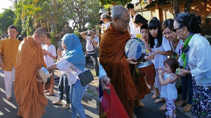 9 Bhikkhu Ikuti Tradisi 'Pindapata' Sambut Trisuci Waisak