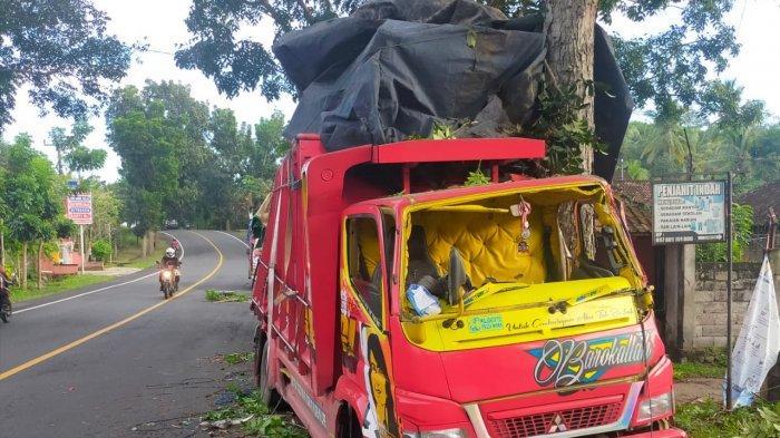 Akibat Masalah Mesin Truk Bermuatan Triplek Mengalami Kecelakaan Tunggal, Tabrak Pohon Perindang