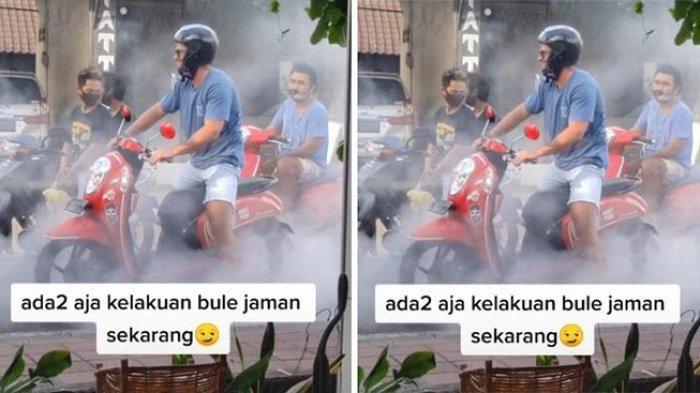 VIDEO Aksi Bule Ngegas Motor di Bali Viral di TikTok, Asap Mengepul di Jalan saat Macet