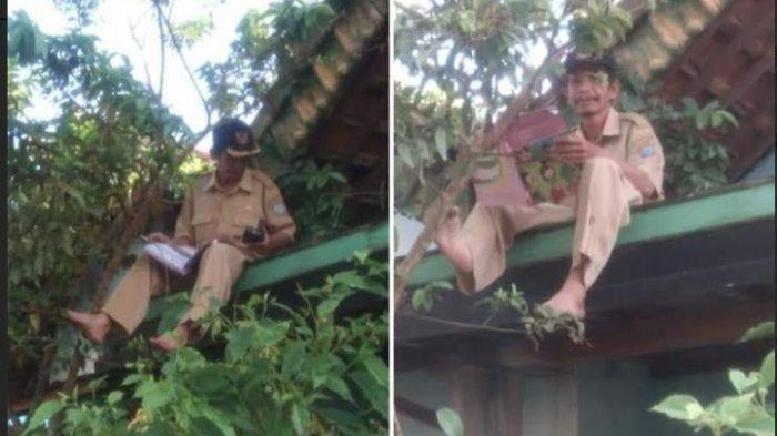 Seorang Guru SD Nekat Naik ke Atap Rumah untuk Mencari Sinyal