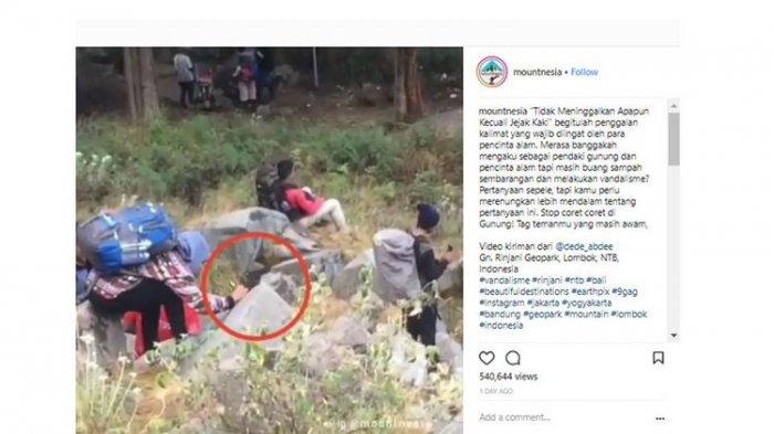 Viral! Pendaki Coret Batu Pakai Spidol di Gunung Rinjani