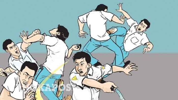 Ilustrasi tawuran atau perkelahian pelajar