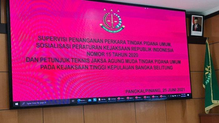 kegiatan supervisi dan sosialisasi Penanganan Perkara Tindak Pidana Umum, bertempat di Aula Wicaksana Kejaksaan Tinggi Kepulauan Bangka Belitung
