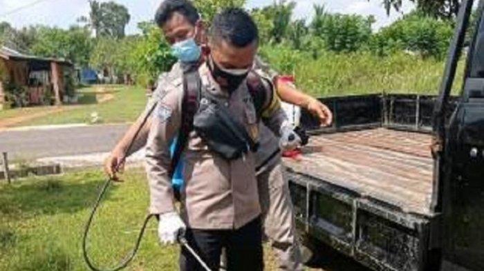 Polisi di Babel Patroli dan Semprot Disinfektan untuk Cegah Covid-19