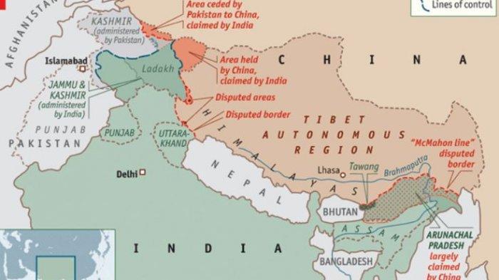 SENGKETA - Wilayah perbatasan China dan India di daerah pegunungan Himalaya yang kerap menjadi sumber sengketa antara dua negara. Pada Jumat (19/2/2021), pemerintah Tiongkok mengakui empat tentaranya tewas pada bentrok mematikan dengan pasukan India di daerah perbatasan Lembah Galwan, Juni 2020 lalu.