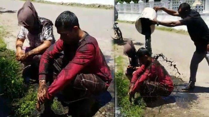 Pasangan selingkuh yang digerebek warga Cot Mesjid, Kecamatan Lueng Bata, Kota Banda Aceh, Minggu (18/4/2021) (Kolase Serambinews.com)