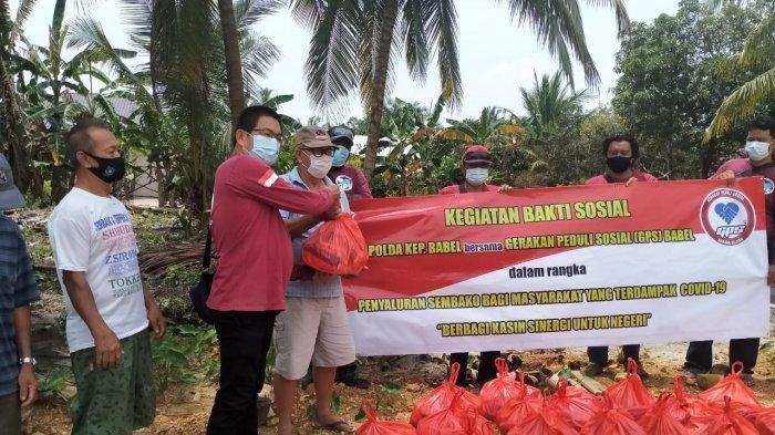 GPS Bangka Belitung Lanjutkan Penyaluran 75 Paket Sembako, Bantuan dari Kapolda Babel