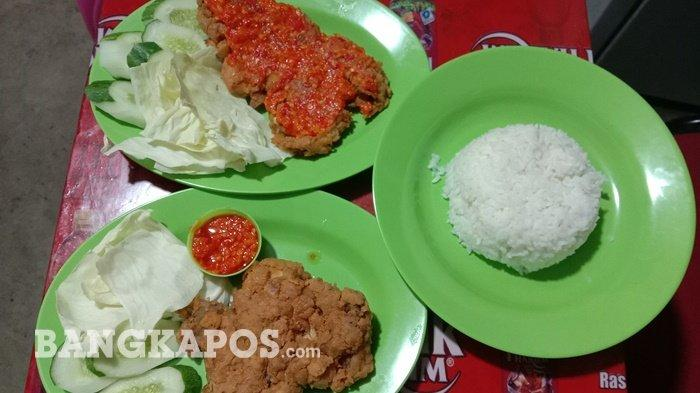 Ayam geprek di Warkop 99 Jl Batin Tikal Taman Sari Kota Pangkalpinang