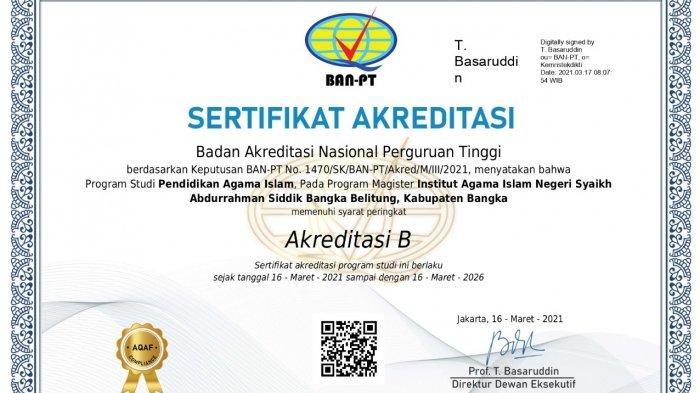 Prodi Pendidikan Agama Islam (PAI) Pascasarjana IAIN SAS Bangka Belitung Berhasil Raih Akreditasi B