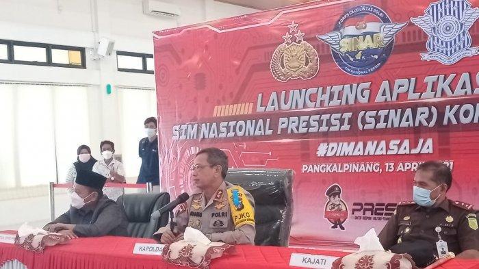 Kapolda  Babel Irjen Anang Syarif Hidayat usai menghadiri zoom meting launching Aplikasi Sinar, Selasa (13/4/2021) di Polda Bangka Belitung.