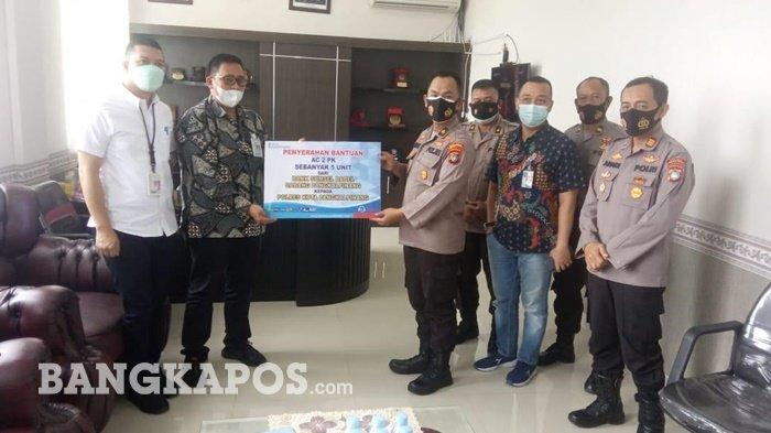 Bank Sumsel Babel Cabang Pangkalpinang Serahkan Bantuan CSR, 5 Unit AC 2 PK ke Polres Pangkalpinang