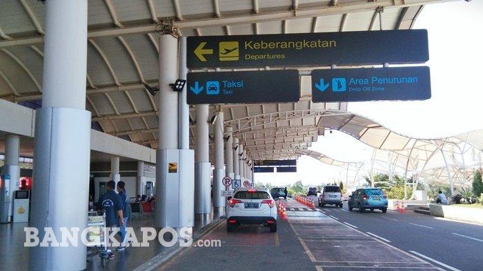 Kondisi terkini Bandara Depati Amir Pangkalpinang, Kepulauan Bangka Belitung yang sepi.