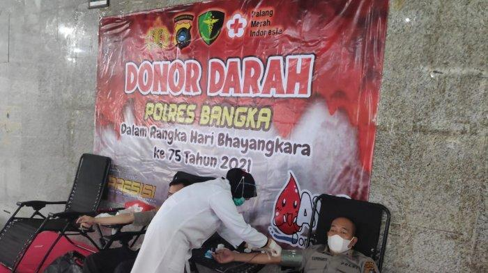 HUT ke-75 Bhayangkara, Polres Bangka Gelar Donor Darah