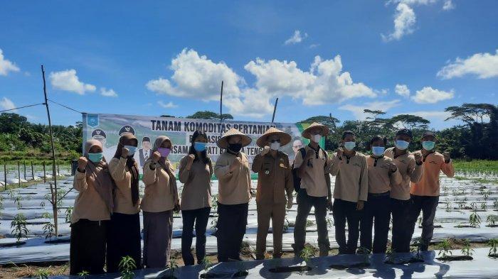 Kelompok Tani terima sarana dan prasarana secara simbolis di kebun Liong thet choi atau Achoi Dusun Nadi Desa Perlang, Selasa (29/6/2021).