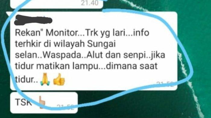 Tangkapan layar percakapan tentang keberadaan AS di Sungaiselan yang beredar di Whatsapp