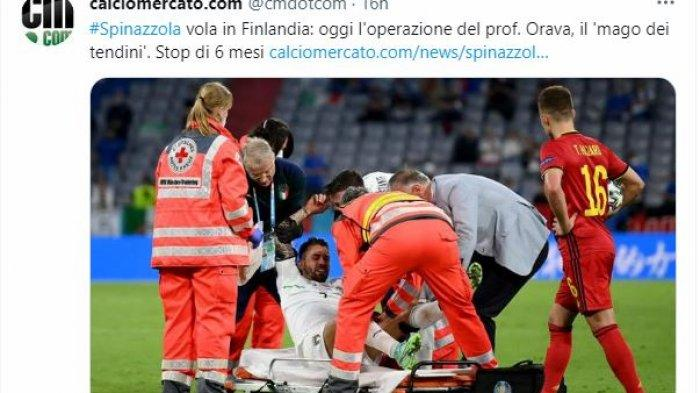 Leonardo Spinazzola saat mengalami cedera saat melawan timnas Belgia di perempatan final EURO 2020