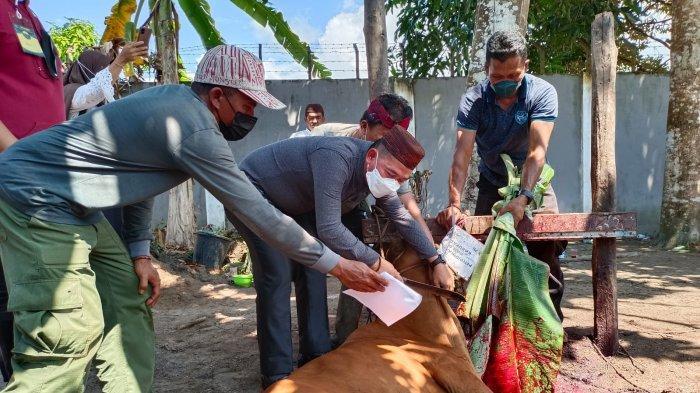 Bupati Bangka Mulkan Menyembelih Langsung Hewan Kurban di Rumah Dinas Bupati Bangka, Rabu (21/07/2021)