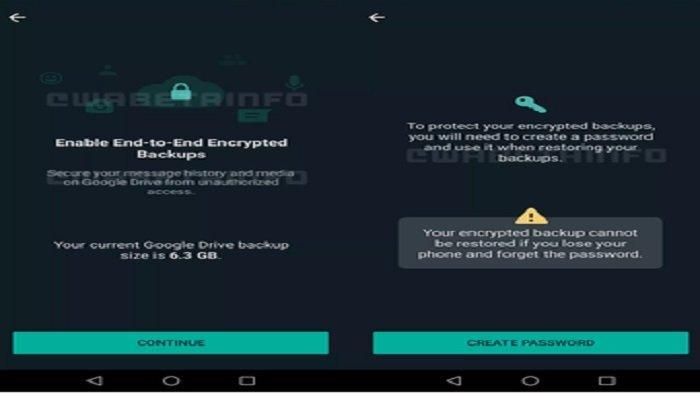 Tangkapan layar situs WABetaInfo yang mengungkap uji coba fitur end-to-end encryption di pencadangan chat WhatsApp.(WABetaInfo)