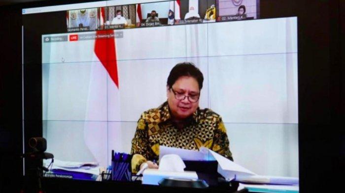 "Menteri Koordinator Bidang Perekonomian dalam webinar yang diselenggarakan oleh Eurocham bertajuk ""Percepatan Pemulihan Ekonomi melalui Reformasi Struktural"" secara virtual, Rabu (21/7/2021)."