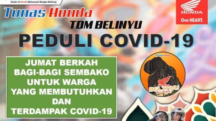 Masa Pandemi Honda TDM Belinyu Support Warga Terdampak Covid-19