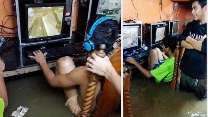 Tak Peduli Banjir, Bocah-bocah Ini Santai Angkat Kaki Main Game di Warnet, Masih Selamat Karena Ini