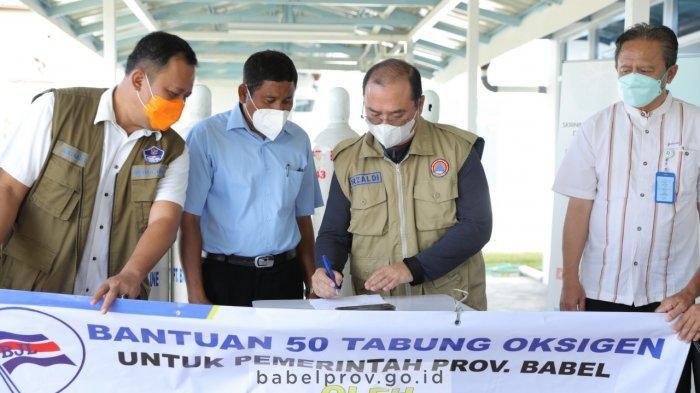 Pemprov. Bangka Belitung Terima Bantuan 50 Tabung Oksigen dari PT Bangka Jaya Line