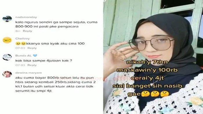 Viral! Wanita Ini Curhat Tekor Habis Rp 4 Juta Untuk Biaya Cerai Padahal Mas Kawin Cuma Rp 100 Ribu