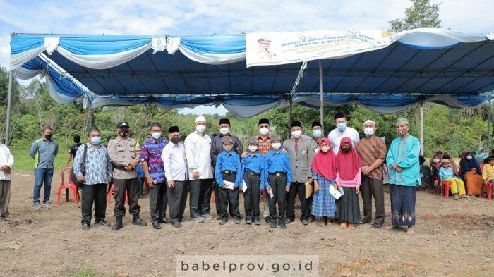 Peletakan Batu Pertama Masjid Trendi, Gubernur Bangka Belitung: Ku Ngeletak Batu Kedue Bai