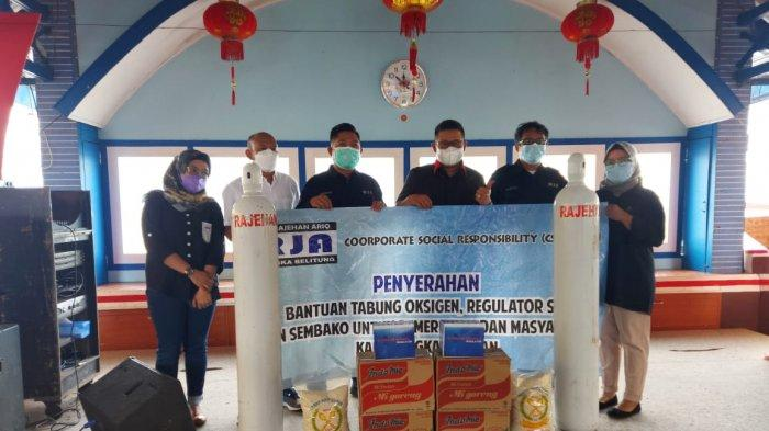Bupati Bangka Selatan Terima Bantuan Penanganan Covid-19 dari PT Rajehan, Oksigen hingga Mie Instans