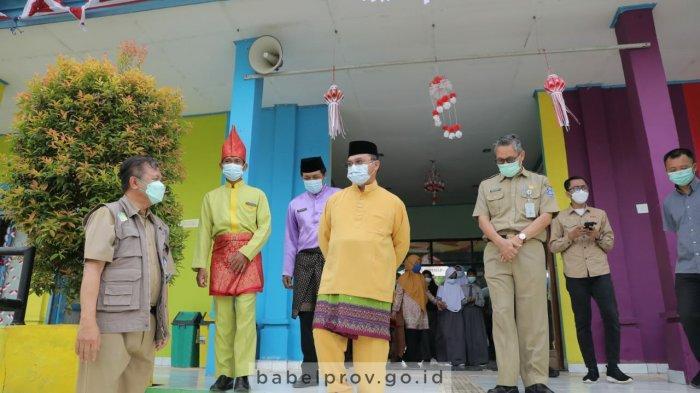 Jelang Pembelajaran Tatap Muka, Gubernur Babel Tinjau Vaksinasi Covid-19 Siswa di Bangka Barat