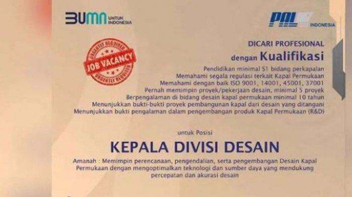 Lowongan Kerja BUMN, PT PAL Indonesia Persero Rekrut S1 Bidang Perkapalan, Deadline 12 September
