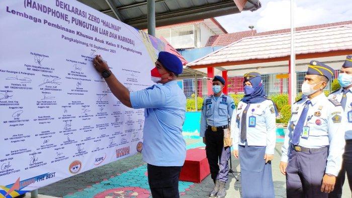 Cegah Peredaran Barang Terlarang, Pegawai LPKA Pangkalpinang Deklarasi Halinar